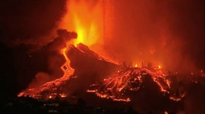 Lava pours out of the volcano