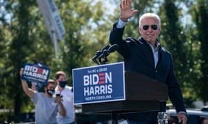 Joe Biden during a drive-in campaign rally at Riverside High School on Sunday in Durham, North Carolina.