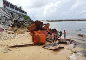 Aiwo, Nauru: rusting wreckage on the shore of the Pacific island of Nauru. The 18-nation Pacific Islands Forum starting on 3 September will centre on the threat climate change poses to island states and China's rising influence in the region