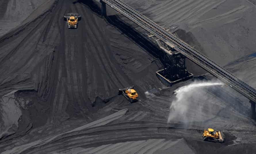 Stock piles of coal are seen at the RG Tanner Coal Terminal in Gladstone
