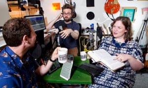 'Beautifully relaxed': Olly Mann, left, Martin the soundman and Helen Zaltzman producing Answer Me This!.