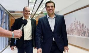 Yianis Varoufakis, left,  with Alexis Tsipras,