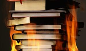 Burning books.