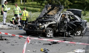 Investigators in Kiev analyse the wreckage of the car bombing that killed Maksim Shapoval, a high-ranking military intelligence official.