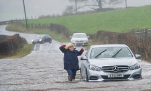 Renfrewshire, Scotland. The province has been hit by widespread travel problems as continuous torrential rain and high winds batter Scotland.