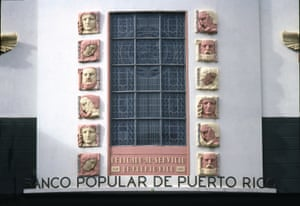 Ancient Gods on the facade of Banco Popular de Puerto Rico, San Juan, 1938