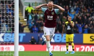 Ashley Barnes celebrates after scoring Burnley's second goal against Southampton.