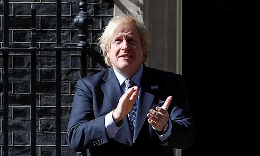 Boris Johnson applauds on the occasion of the 72nd anniversary of the NHS.