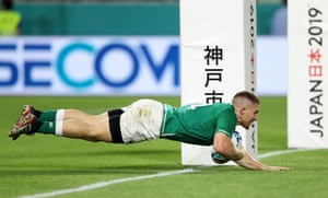 Ireland's Andrew Conway scores their fourth try.