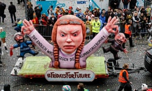 A Greta Thunberg/Friday for Future float at Düsseldorf's Rose Monday carnival parade in February.