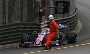 Sergio Pérez gets very close to crashing into a marshall at Monaco.