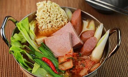 South Korean fusion stew budae jjigae.