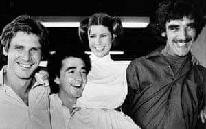 Star Wars actors during a break from the filming of a television special presentation in Los Angeles in 1978. From left, Harrison Ford, Anthony Daniels, Carrie Fisher, and Peter Mayhew