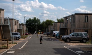 A temporary housing estate in Reading made of old shipping containers.