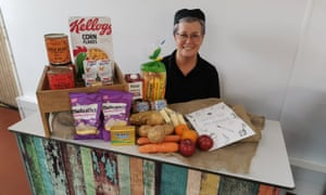 Debbie Trickey, ISS Education kitchen manager with a sample hamper.