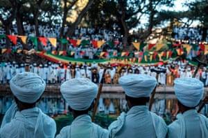 Gondar, Ethiopia Christian priests attend the celebration of Timkat, the Ethiopian Epiphany