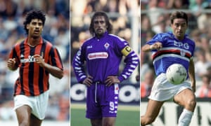 Frank Rijkaard, Gabriel Batistuta and Roberto Mancini model a few of the best kits in Serie A histroy.