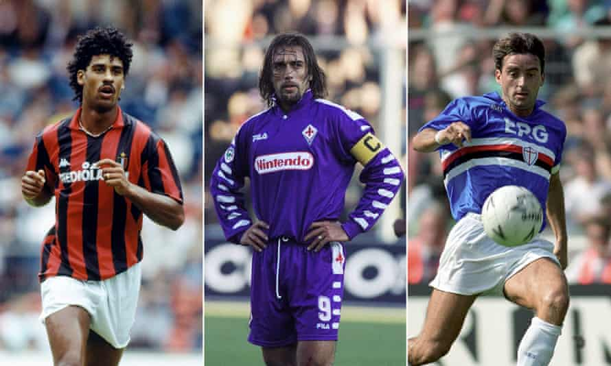 Frank Rijkaard, Gabriel Batistuta and Roberto Mancini model a few of the best kits in Serie A histroy.