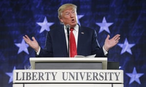 Donald Trump gestures during a speech at Liberty University in Lynchburg, Virginia in January 2016.