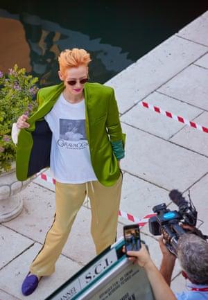 Venice Film Festival: Tilda Swinton attends a photocall for movie The Human Voice
