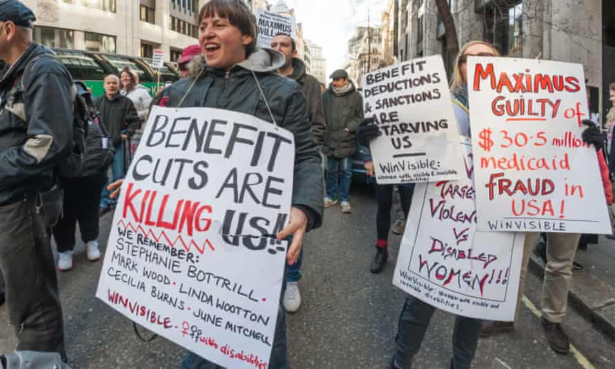Protesters at the Department for Work and Pensions, London, 2 March 2015.