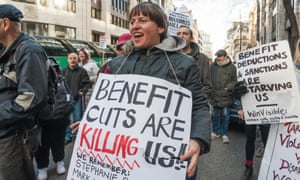 Campaigners against the work capability assessment protest outside the Department for Work and Pensions in March.