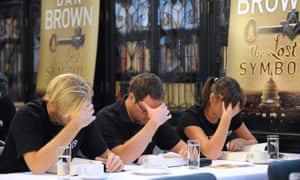 Getting it over with quickly ... Australian speed readers tackle Dan Brown's The Lost Symbol on the day of its publication in 2009.