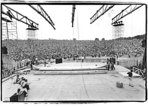 View of the Woodstock festival from backstage, August 1969.