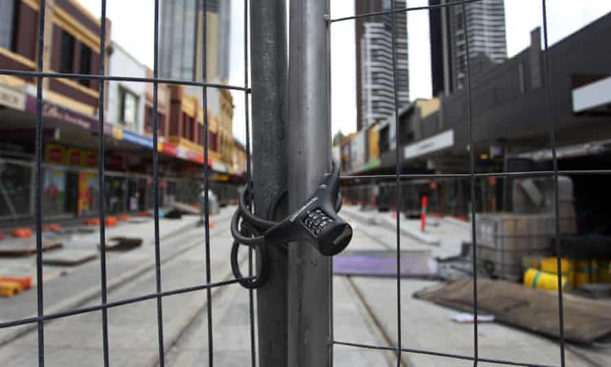 A shut-down tram construction site in Parramatta, Australia