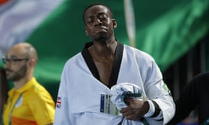 Lutalo Muhammad of Great Britain looks dejected after his last-second defeat.