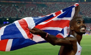 Britain's Mo Farah celebrates after striking gold in the 10,000m at the Bird's Nest stadium in Beijing.
