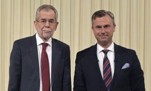 Alexander Van der Bellen (left) and Norbert Hofer before the start of a TV debate in Vienna.