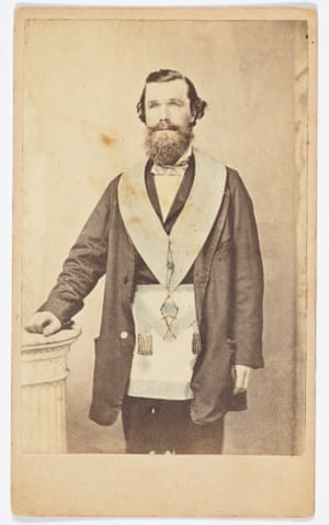 Joshua Ardell, stonemason and grocer, wearing a Mason's apron