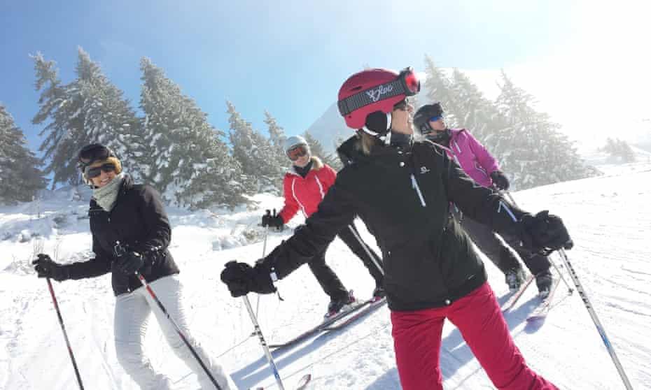 Four women on ski slope