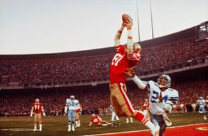 The Catch: Dwight Clark leaps to receive a pass that helped the San Francisco 49ers beat the Dallas Cowboys in the NFC football championships in San Francisco, 1982