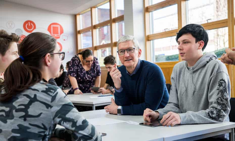 Tim Cook visits Harlow college in Essex, which will use a new Apple coding initiative.