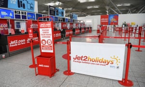 An empty Jet2 Holidays check-in at Stansted airport.
