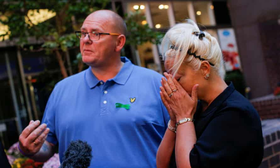 FILE PHOTO: Tim Dunn and Charlotte Charles, parents of British teen Harry Dunn who was killed in a car crash on his motorcycle, allegedly by the wife of an American diplomat, speak during a interview in the Manhattan borough of New York City, New York, U.S., October 15, 2019. REUTERS/Eduardo Munoz/File Photo