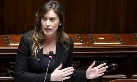 Maria Elena Boschi addresses the lower house of parliament in Rome on Friday, when a motion of no confidence in her was rejected by MPs.