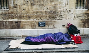 A homeless person sleeping on the street in Oxford