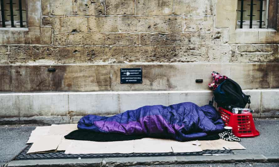 A rough sleeper in Oxford, one of the country's wealthiest cities.