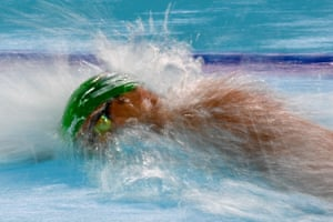 South Africa's Chad Le Clos competes in the men's 100m freestyle semi-final.