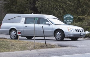 A hearse leaves Pinecrest nursing home in Bobcaygeon, Ontario, in this picture taken last Tuesday