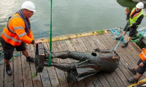 Museum bound ... Colston's statue is raised from the depths at Bristol harbour.