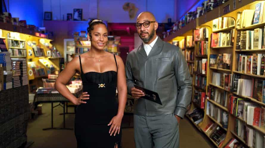 Swizz Beatz and his wife Alicia Keys speaking at the NAACP Image awards in March.
