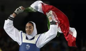 Kimia Alizadeh celebrates after winning bronze in Rio de Janeiro, 2016.