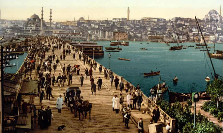 Galata bridge,  showing pedestrian and vehicular traffic and shipping