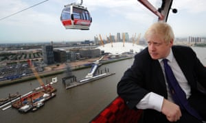 Boris Johnson takes one of the first rides in Emirates Skyline in June 2012.