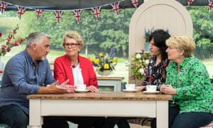 Paul Hollywood, left, with Prue Leith, Noel Fielding and Sandi Toksvig on the Great British Bake Off.