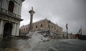 An exceptionally high tide, the worst in 53 years, floods Venice in November.